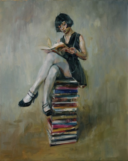 Woman reading painting by Shaun Ferguson.
