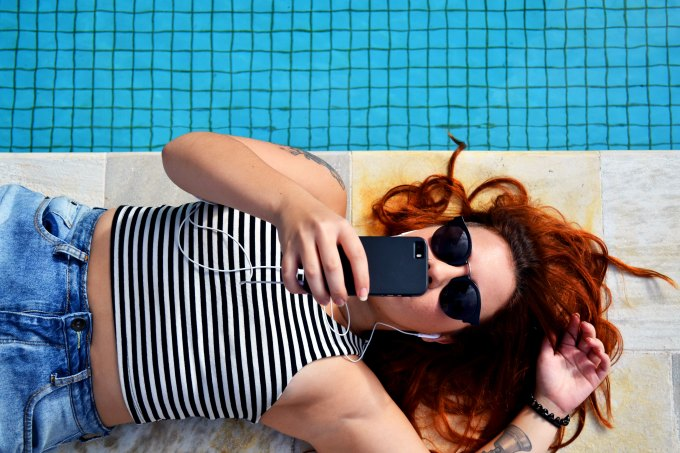 Boho Babe phone poolside